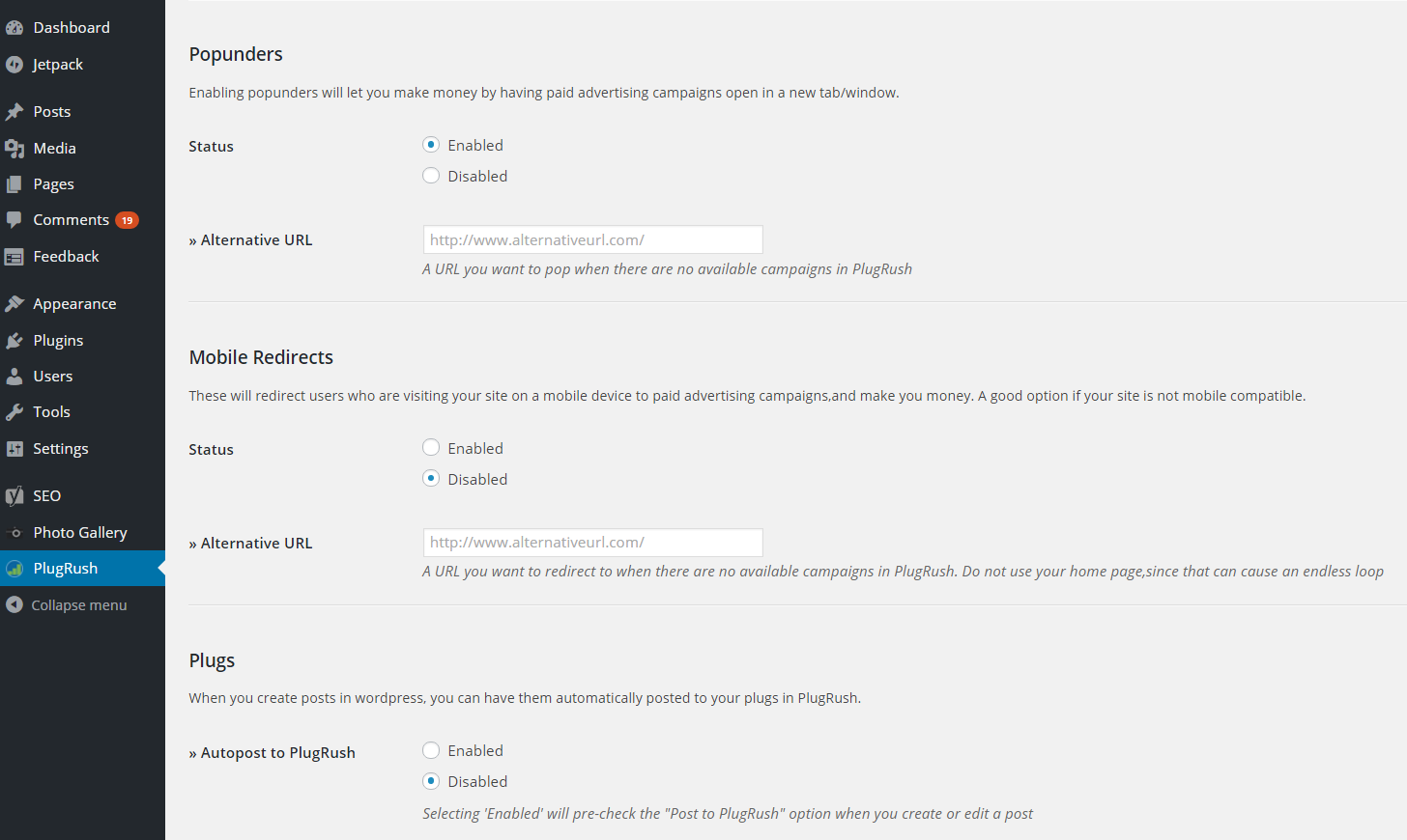 Plugrush WordPress Plugin